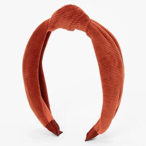 Serre-tête en tricot côtelé noué - Rouille,