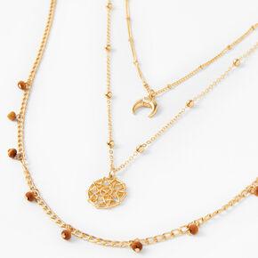 Lot de colliers de chaîne multi-rangs corne et bois d'imitation couleur dorée - Marron, lot de 2,