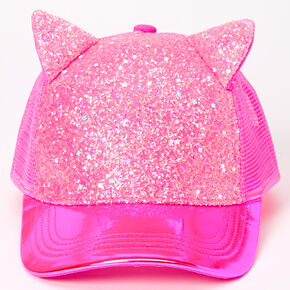 Glitter Cat Ears Trucker Hat - Pink,