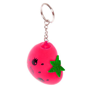 Strawberry Heart Stress Ball Keychain - Red,