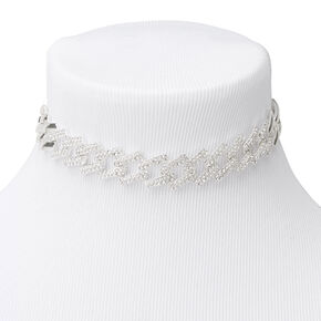 Silver Embellished Square Curb Link Choker Necklace,