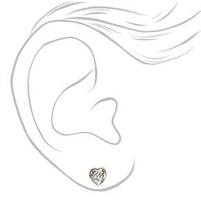 Silver Mixed Crystal Shape Stud Earrings - 9 Pack,
