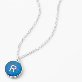 Silver Initial Mood Pendant Necklace - R,