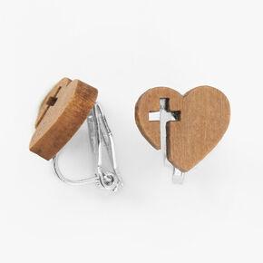 Clous d'oreilles à clip en bois d'imitation croix et cœur,