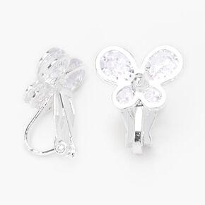 Clous d'oreilles à clip papillon en zircon cubique d'imitation couleur argentée,