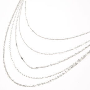 Silver Delicate Chain Multi Strand Necklace,