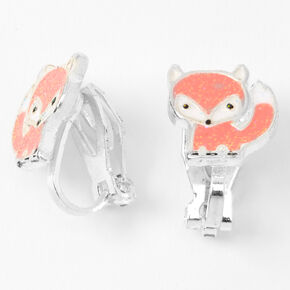 Silver Fox Clip On Stud Earrings - Coral,