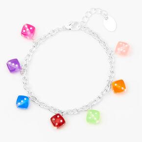 Neon Dice Charm Bracelet - Silver,