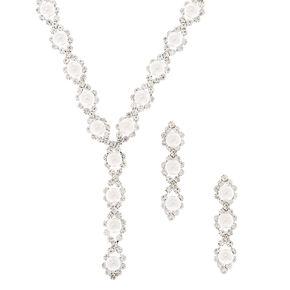 Parure de bijoux linéaire avec perles d'imitation couleur argenté, lot de 2articles,