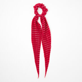 Small Polka Dot Pleated Scarf Hair Scrunchie - Fuchsia,