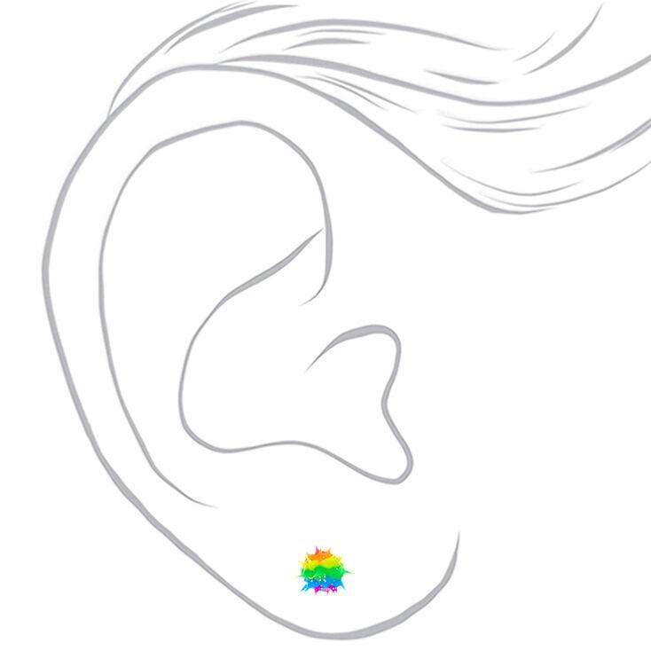 Rainbow Glitter Rave Stud Earrings,