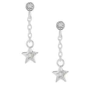 "Sterling Silver 1"" Crystal Star Drop Earrings,"