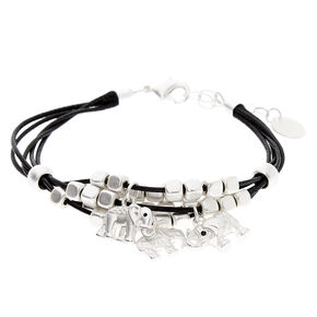 Silver Elephant Beaded Cord Bracelet - Black,