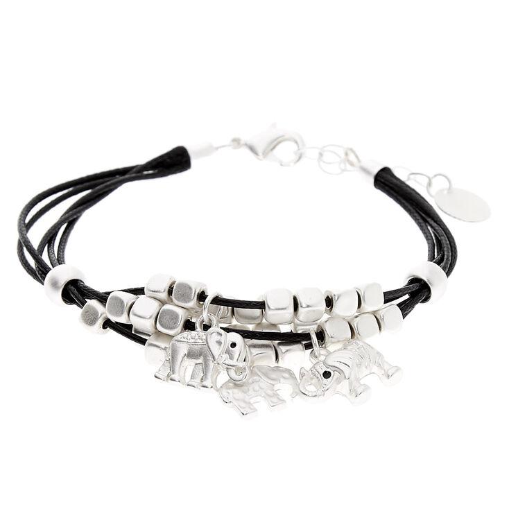 Bracelet de fils perlé éléphant couleur argentée - Noir,