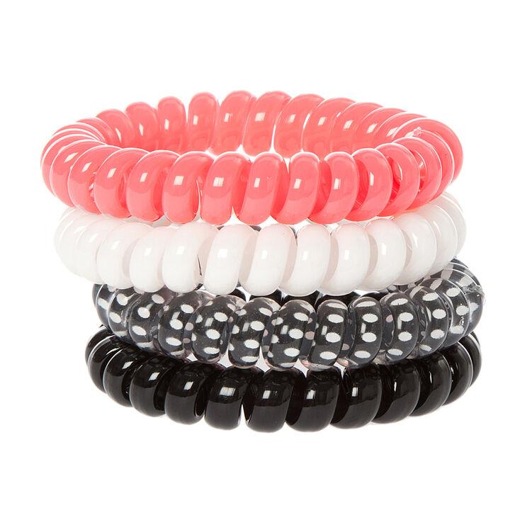 Pretty Pink Polka Dot Spiral Hair Ties - 4 Pack,