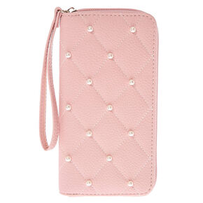Quilted Pearl Wristlet - Pink,