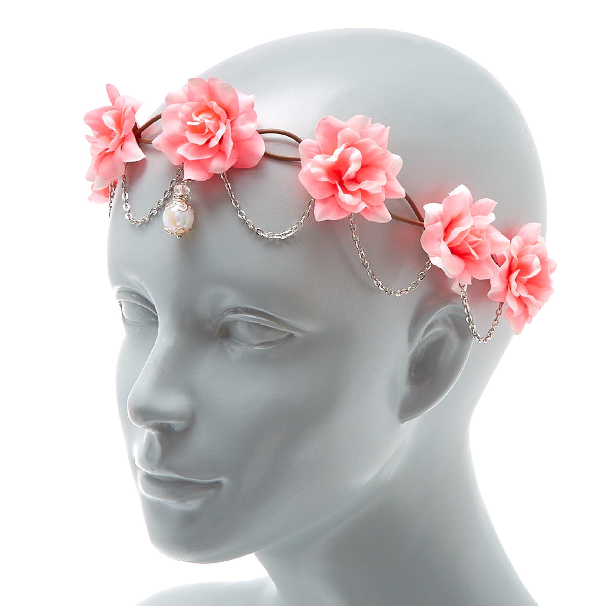 Silver chain flower crown headwrap hot pink claires us silver chain flower crown headwrap hot pink izmirmasajfo