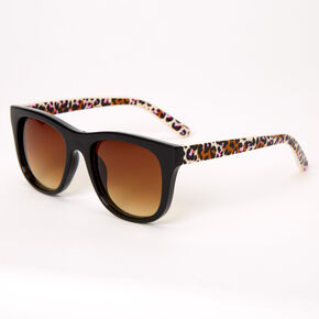 Retro Pink Leopard Sunglasses - Black,