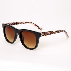 Lunettes de soleil imprimé léopard rose rétro - Noir,