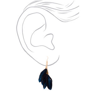 "Gold 3.5"" Feather Drop Earrings - Black,"