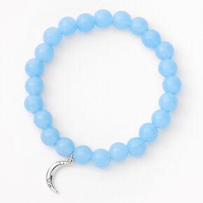 Bracelet élastique perlé croissant de lune couleur argentée - Bleu,