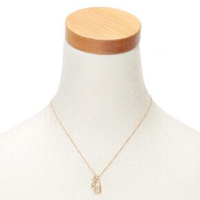 Collier à pendentif cadenas et clé couleur doré avec initiale - Q,