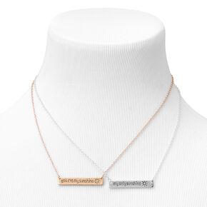 Best Friends Sunshine Pendant Necklaces - Mixed Metals, 2 Pack,