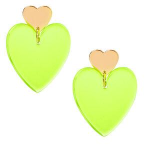 """Gold 2"""" Neon Double Heart Drop Earrings - Yellow,"""