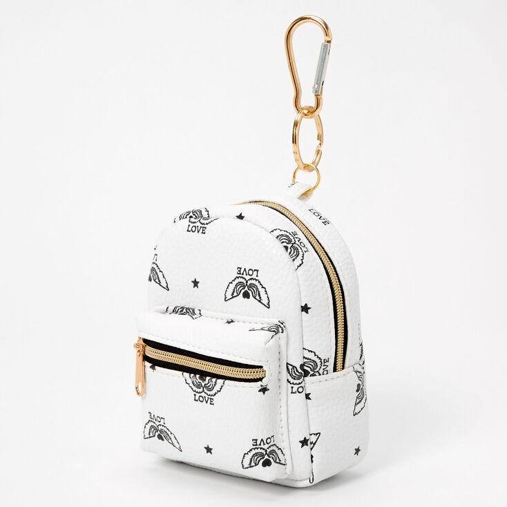 Winged Love Mini Backpack Keyring - White,