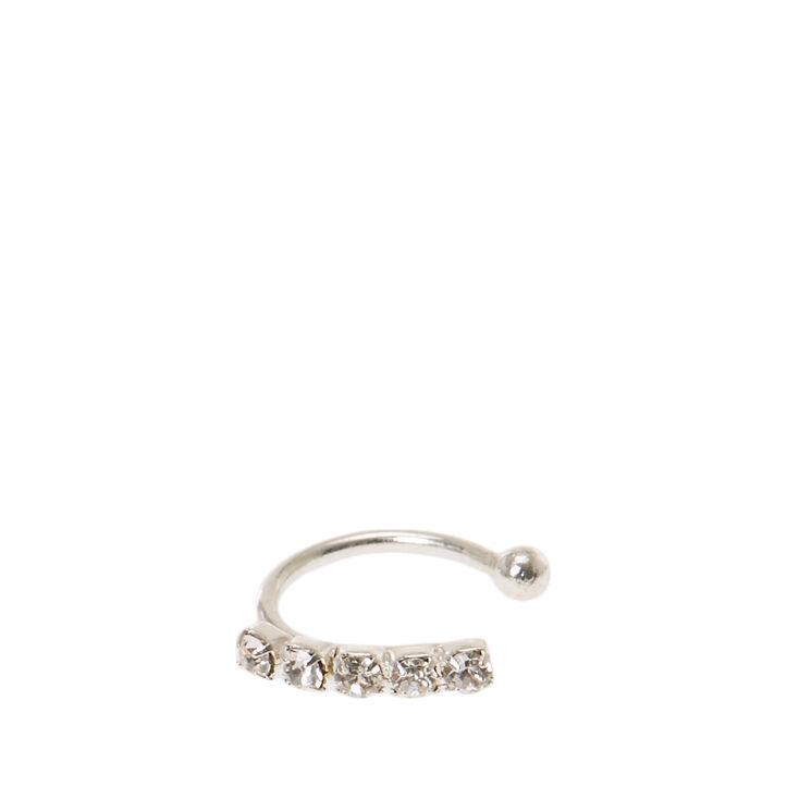 Silver Rhinestone Faux Nose Hoop Ring,