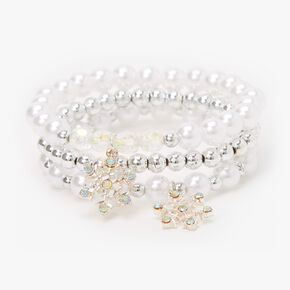 Bracelets élastiques flocon de neige perles d'imitation et couleur argentée Claire'sClub - Lot de 3,