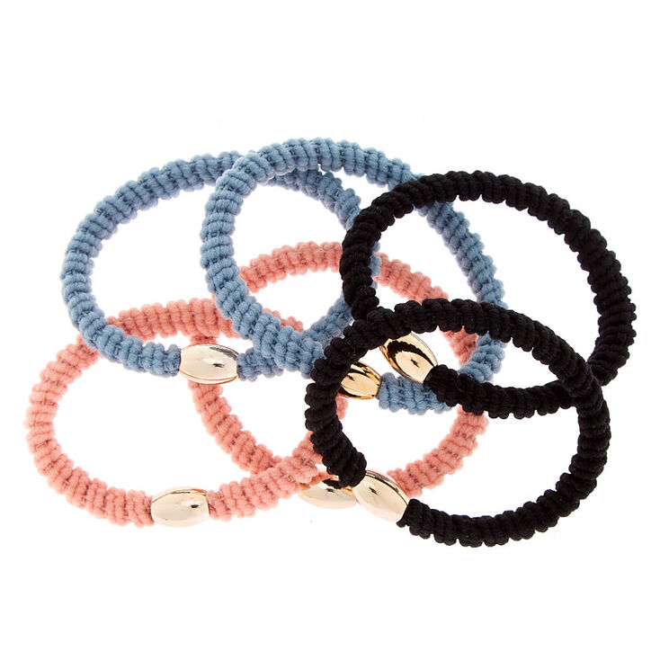 Dusty Ribbed Hair Bobbles - 6 Pack,