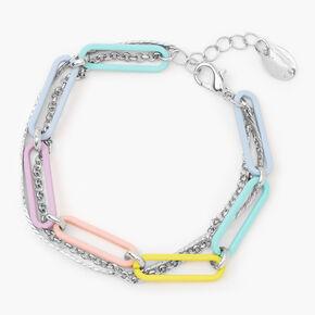 Silver Rainbow Chain Link Bracelet,