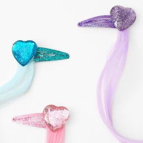 Claire's Club Faux Hair Glitter Heart Hair Clips - 6 Pack,