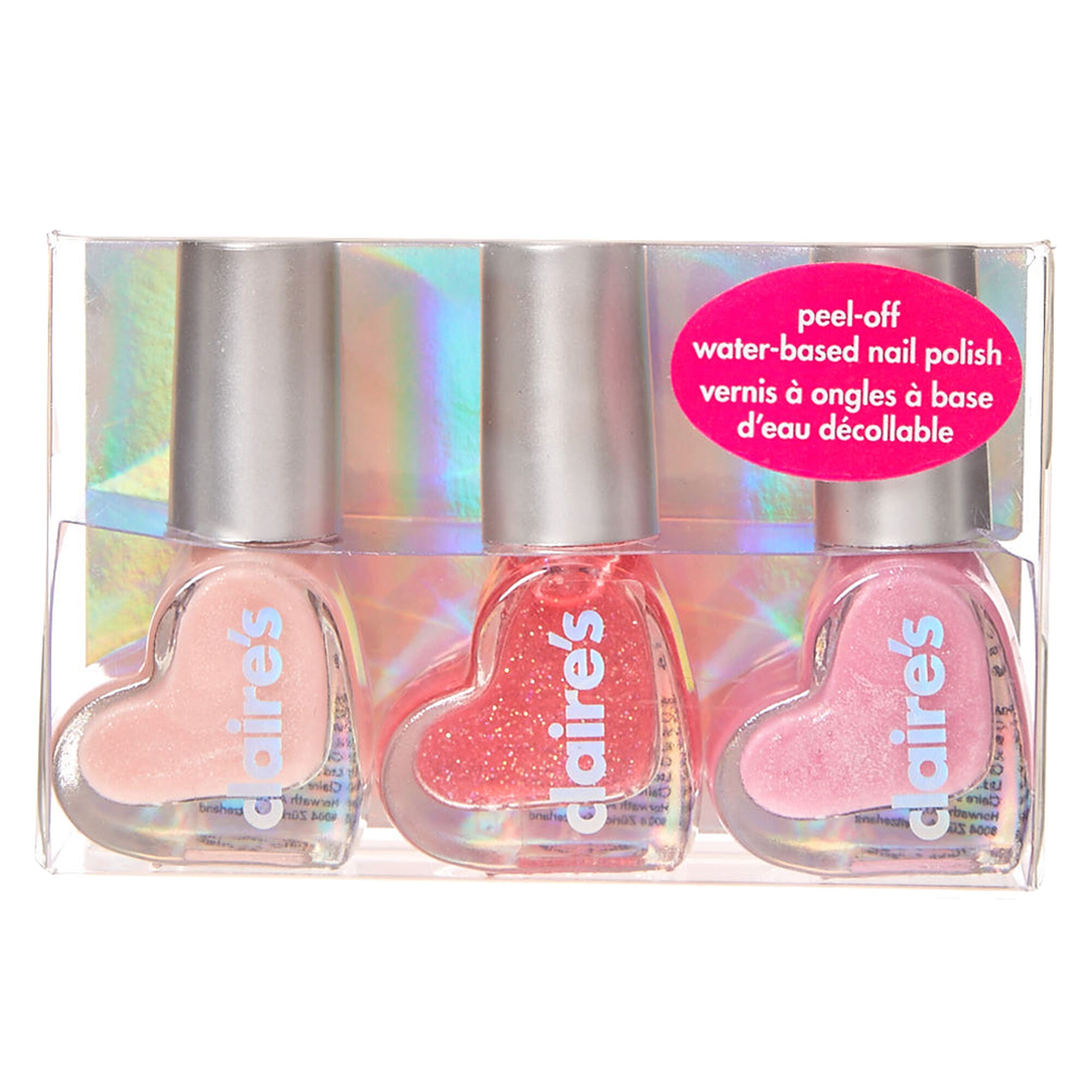 Glittery Pink Peel-Off Water-Based Nail Polish Trio | Claire\'s US