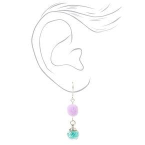 "1.5"" Pom Pom Drop Earrings - Lilac and Teal,"