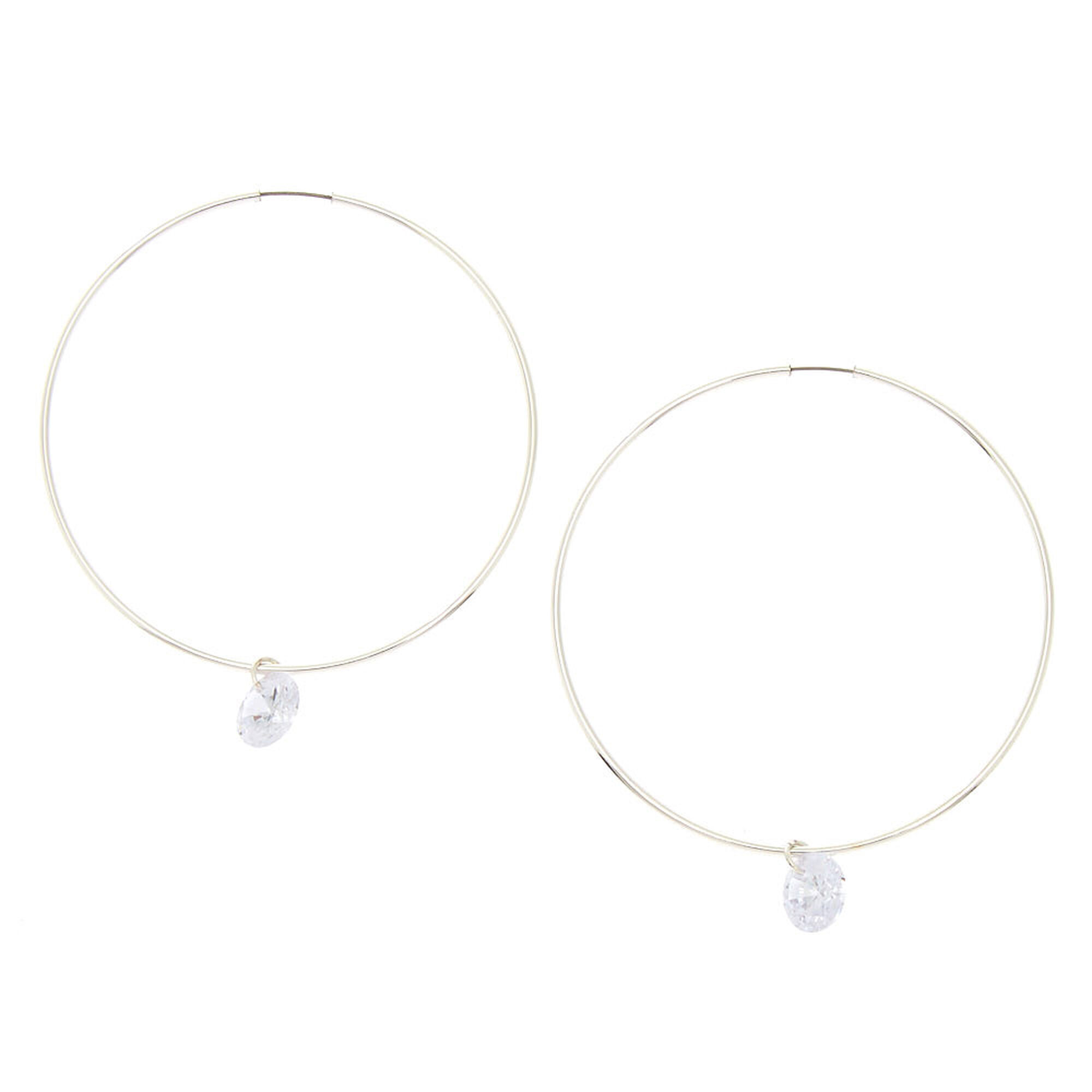 Cubic Zirconia Charm 50mm Hoop Earrings