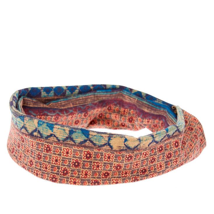 Aztec & Floral Print Reversible Knotted Headwrap,