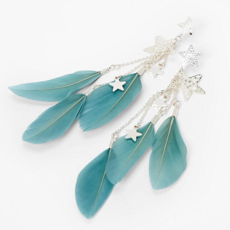Pendantes plumes et étoiles 10cm couleur argentée - Bleu,