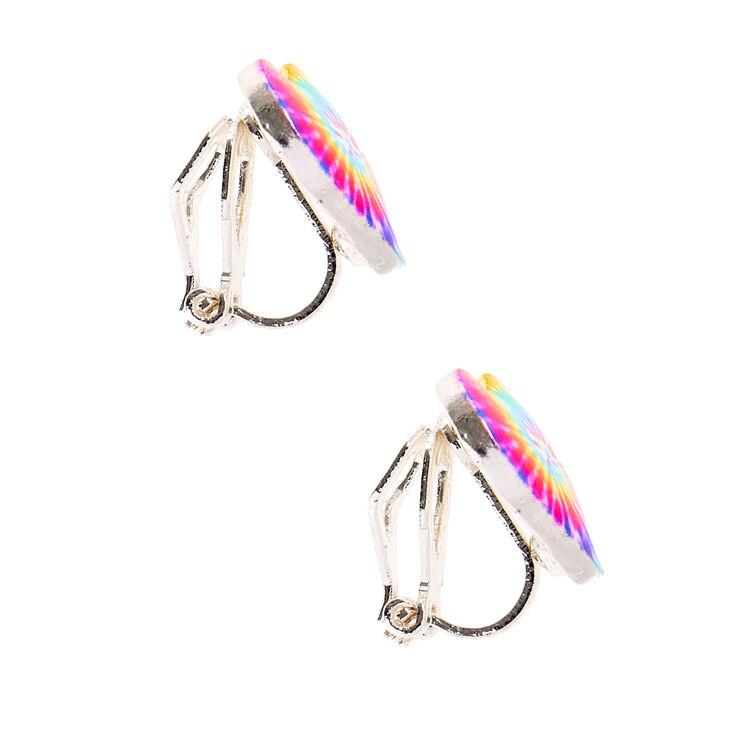 Rainbow Tie Dye Heart Clip On Earrings,