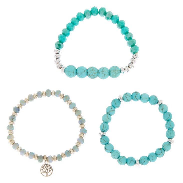 Beaded Stretch Bracelets - Turquoise, 3 Pack,