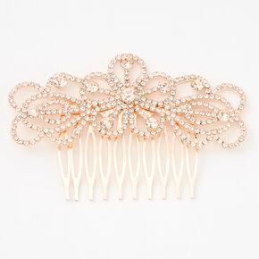 Rose Gold Silk Rhinestone Spiral Floral Hair Comb,