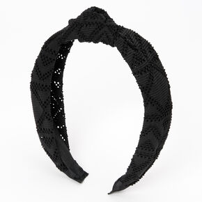 Filigree Perforated Knotted Headband - Black,