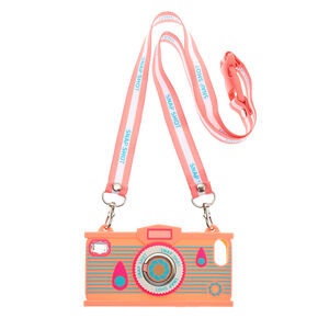 Pink Camera Silicone Ring Holder Phone Case - Fits iPhone 6/7/8/SE,