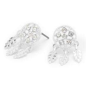 Silver Crystal Dreamcatcher Stud Earrings,