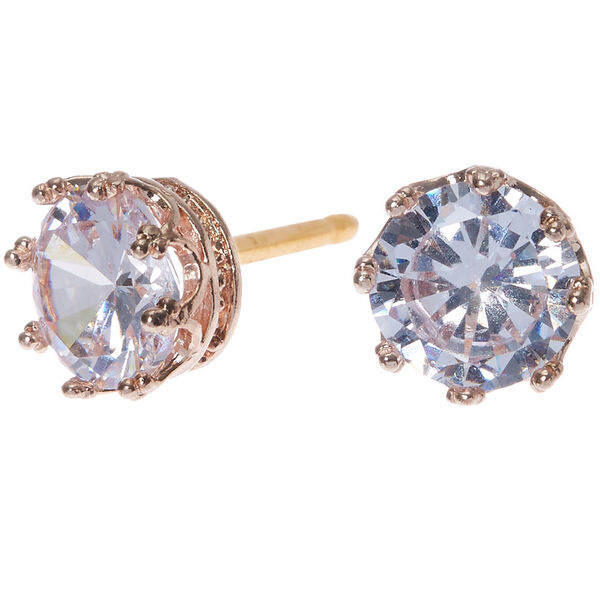 Claire's - rose cubic zirconia 8mm round stud earrings - 1