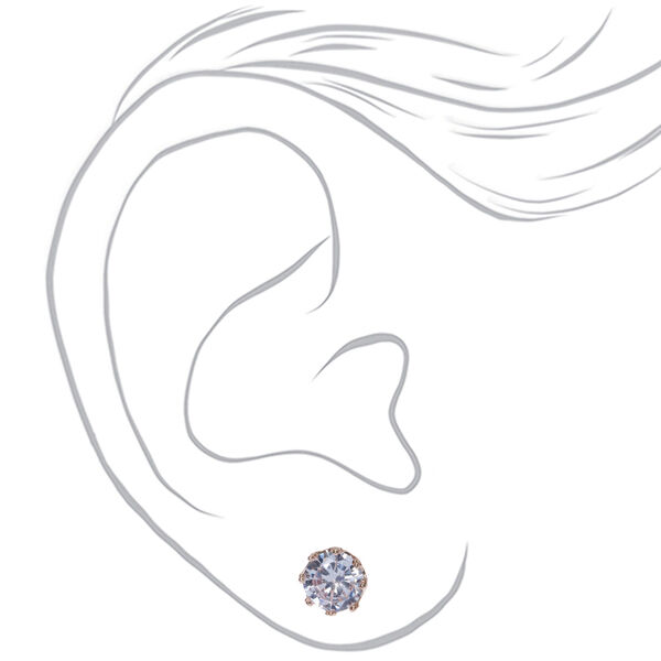 Claire's - rose cubic zirconia 8mm round stud earrings - 2