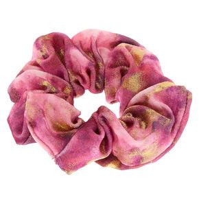 Medium Gold Marble Velvet Hair Scrunchie - Pink,