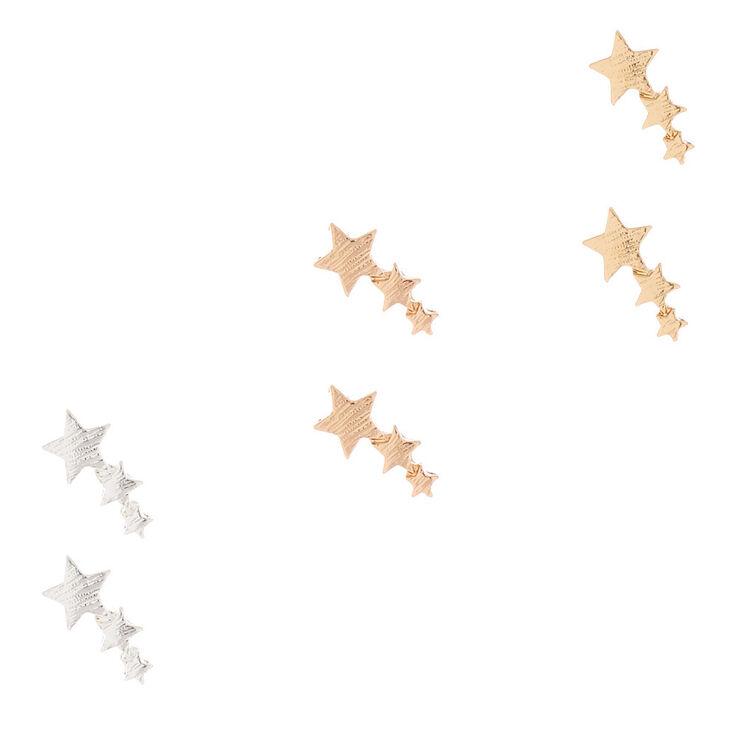 Mixed Metal Shooting Star Stud Earrings 3 Pack