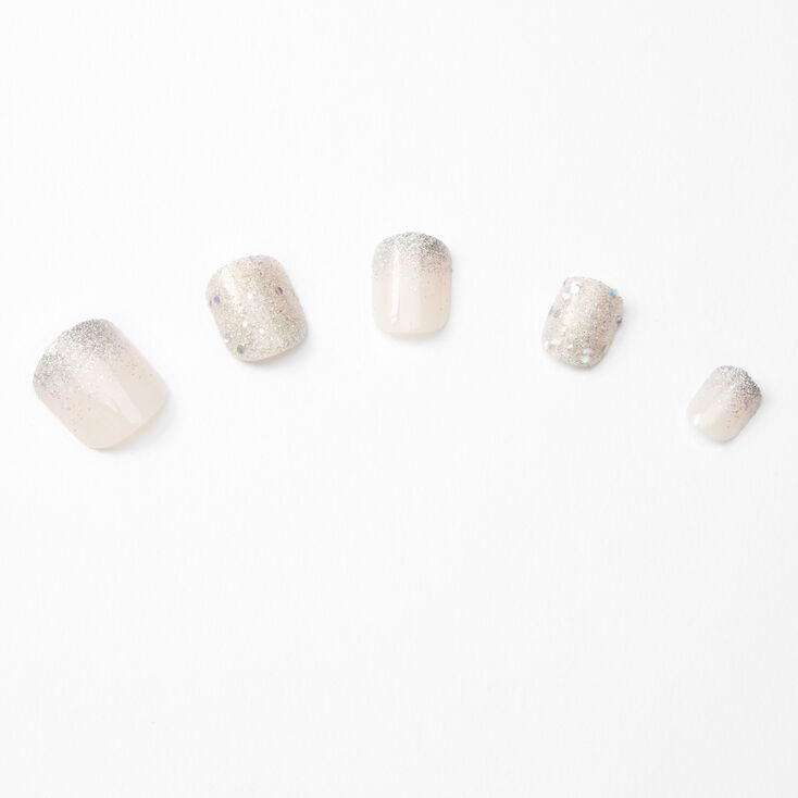 Glitter Gradient French Tip Square Press On Faux Nail Set - White, 24 Pack,